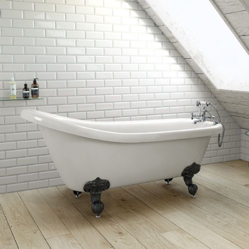 1700mm Freestanding Roll Top High Back Slipper Bath with Ball Feet
